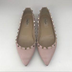 VALENTINO Rockstud Ballerina Flat, pink, size 39